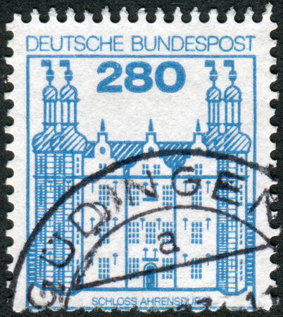 obliteration: GERMANY - CIRCA 1982: Postage stamp printed in Germany, shows Ahrensburg Castle, circa 1982 Editorial