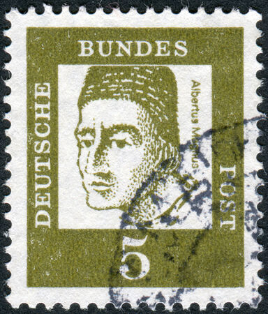 obliteration: GERMANY - CIRCA 1961: Postage stamp printed in Germany, shows portrait of St. Albertus Magnus, circa 1961