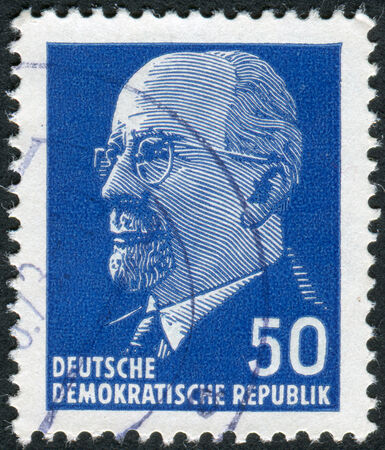 obliteration: GERMANY - CIRCA 1963: Postage stamp printed in Germany (GDR), shows a German Communist politician and statesman Walter Ulbricht, circa 1963
