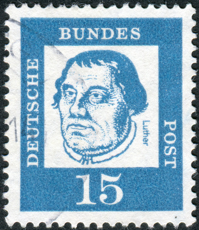 obliteration: GERMANY - CIRCA 1961: Postage stamp printed in Germany, shows portrait of Martin Luther, circa 1961