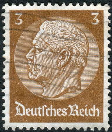 obliteration: GERMANY - CIRCA 1934: Postage stamp printed in Germany (German Reich), shows the 2nd President of Germany, Paul von Hindenburg, circa 1934 Editorial