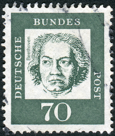 obliteration: GERMANY - CIRCA 1961: Postage stamp printed in Germany, shows portrait of Ludwig van Beethoven, circa 1961 Editorial
