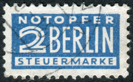 obliteration: GERMANY - CIRCA 1948: Postage Tax Stamp printed in Germany (West Berlin), Berlin emergency levy (Notopfer Berlin) Issue, shows face value, circa 1948
