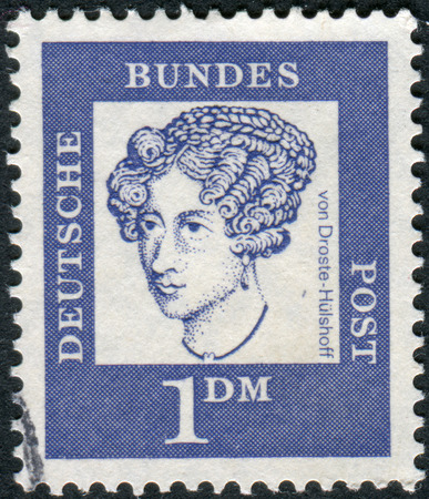 obliteration: GERMANY - CIRCA 1961: Postage stamp printed in Germany, shows portrait of Annette von Droste-Hulshoff, circa 1961