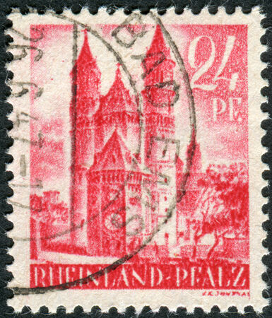 obliteration: GERMANY - CIRCA 1947: Postage stamp printed in Germany (Rhineland-Palatinate, French occupation zone), shown Worms Cathedral (Cathedral of St. Peter), circa 1947