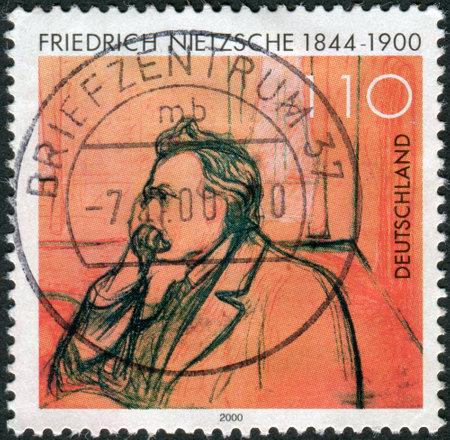 munch: GERMANY - CIRCA 2000: Postage stamp printed in Germany, shows portrait of Friedrich Wilhelm Nietzsche by Edvard Munch, circa 2000