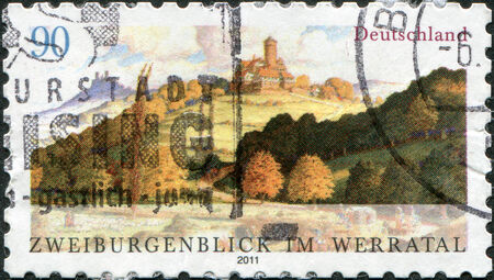 guarantor: GERMANY - CIRCA 2011: A stamp printed in Germany, shows the two guarantor look in the Werratal, circa 2011