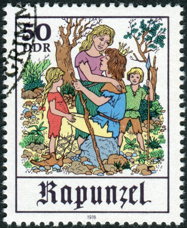 rapunzel: GERMANY (DDR) - CIRCA1978: Postage stamp printed in Germany, shows a scene from a fairy tale by the Brothers Grimm, Rapunzel, circa 1978 Editorial