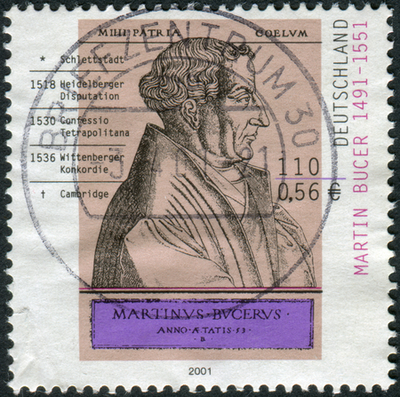 GERMANY - CIRCA 2001: Postage stamp printed in Germany, shows Martin Bucer, engraving by Rene Boyvin, circa 2001