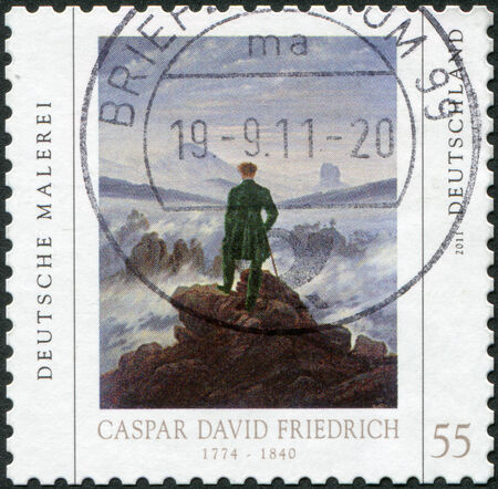 caspar: GERMANY - CIRCA 2011: A stamp printed in Germany, is devoted to Caspar David Friedrich, shows a picture of Wanderer above the Sea of ??Fog, circa 2011