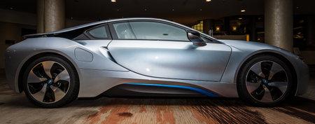 developed: BERL�N - 28 de noviembre 2014: Showroom. El BMW i8, introducido por primera vez como los BMW Concept Vision Efficient Dynamics, es un plug-in de coche deportivo h�brido desarrollado por BMW