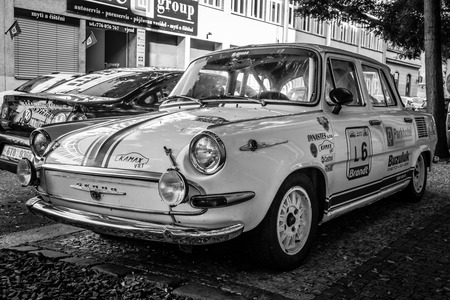 czechoslovakia: PRAGUE, CZECH REPUBLIC - SEPTEMBER 04, 2014: Sporty version of the popular in the 60s car from Czechoslovakia - Skoda 1000MB. Produced more than 400,000 cars. Black and white. Editorial