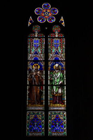 stained glass panel: PRAGUE, CZECH REPUBLIC - SEPTEMBER 04, 2014: Stained glass window of St. Ludmila Church (St. Ludmila of Bohemia)