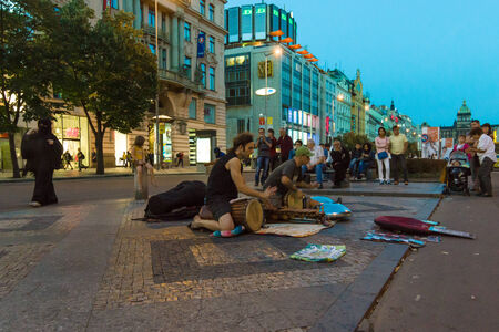 drumming: PRAGUE, CZECH REPUBLIC - SEPTEMBER 04, 2014: Evening performances of street artists on Wenceslas Square. Drumming.