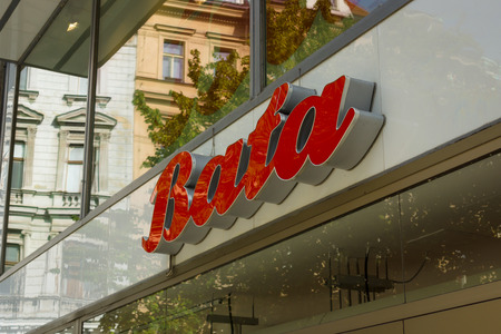 retailer: PRAGUE, CZECH REPUBLIC - SEPTEMBER 18, 2014: Bata store. Bata - is a family-owned global footwear and fashion accessory manufacturer and retailer. More than 30,000 employees