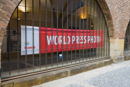 prestigious: PRAGUE, CZECH REPUBLIC - SEPTEMBER 18, 2014: World Press Photo Exhibition. World Press Photo is an independent, non-profit organization, and  the worlds largest and most prestigious press photography contest.