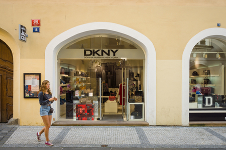 donna: PRAGUE, CZECH REPUBLIC - SEPTEMBER 18, 2014: DKNY store. DKNY is a New York-based fashion house specializing in fashion goods for men and women founded in 1984 by Donna Karan. Editorial