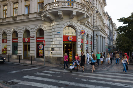 PRAGUE, CZECH REPUBLIC - SEPTEMBER 18, 2014: Burger King on the Wenceslas Square. Burger King, often abbreviated as BK, is a global chain of hamburger fast food restaurants. Editorial