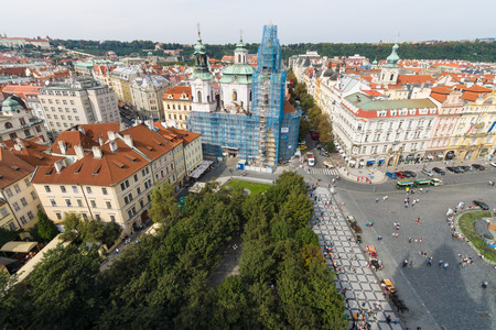 old town square: PRAGUE, CZECH REPUBLIC - SEPTEMBER 18, 2014: View of the Old Town Square with the height of the town hall. Old Town Square is a historic square in the Old Town quarter of Prague.