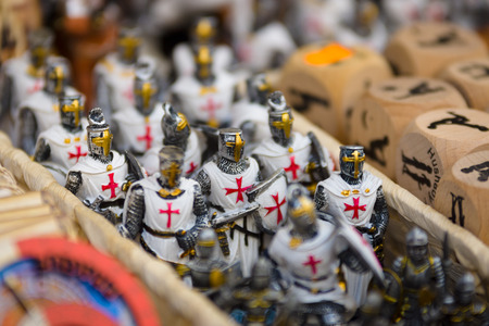 crusaders: PRAGUE, CZECH REPUBLIC - SEPTEMBER 18, 2014: Prague souvenirs, tin soldiers (Crusaders). Prague is the capital and largest city of the Czech Republic. Editorial