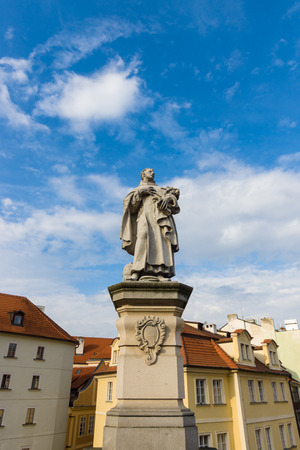 st charles: Sculpture of Philip Benizi de Damiani (St. Philip Benitius) on the Charles Bridge in Prague. Czech Republic.
