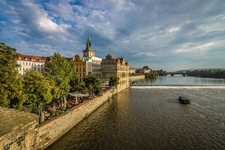vltava: Autumn in Prague. Vltava River. Czech Republic. Toning.