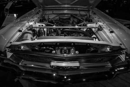 v8: MAASTRICHT, NETHERLANDS - JANUARY 08, 2015: Engine Windsor HiPo V8 of the Ford Mustang (first generation). Black and white. International Exhibition InterClassics & Topmobiel 2015