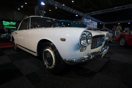 superleggera: MAASTRICHT, NETHERLANDS - JANUARY 08, 2015: Luxury car Lancia Flaminia GTL by Carrozzeria Touring. International Exhibition InterClassics & Topmobiel 2015