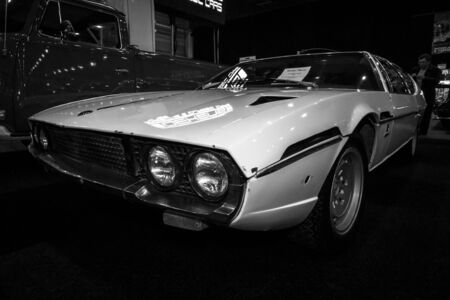 lamborghini: MAASTRICHT, NETHERLANDS - JANUARY 08, 2015: Car Lamborghini Espada, 1975. Black and white. International Exhibition InterClassics & Topmobiel 2015 Editorial