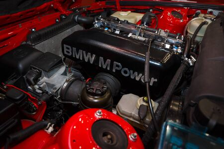 engine compartment: MAASTRICHT, NETHERLANDS - JANUARY 08, 2015: The engine sports car BMW M3 (E30). International Exhibition InterClassics & Topmobiel 2015