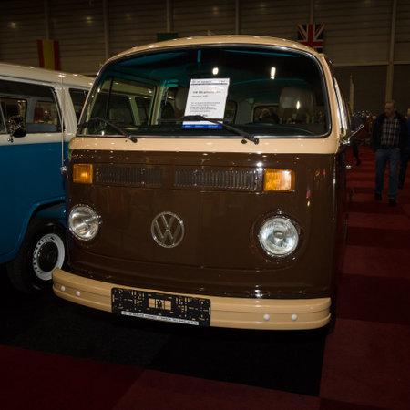 minibus: MAASTRICHT, NETHERLANDS - JANUARY 08, 2015: Minibus Volkswagen T2b (Late Bay). International Exhibition InterClassics & Topmobiel 2015 Editorial