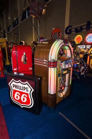 international sales: MAASTRICHT, NETHERLANDS - JANUARY 08, 2015: Vintage jukeboxes. International Exhibition InterClassics & Topmobiel 2015