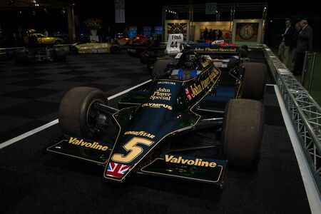 formula one car: MAASTRICHT, NETHERLANDS - JANUARY 08, 2015: Formula One car Lotus 79, designed in late 1977 by Colin Chapman. International Exhibition InterClassics & Topmobiel 2015