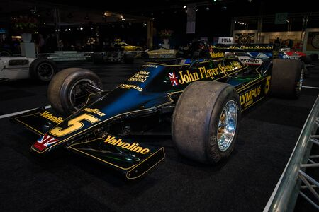 chapman: MAASTRICHT, NETHERLANDS - JANUARY 08, 2015: Formula One car Lotus 79, designed in late 1977 by Colin Chapman. International Exhibition InterClassics & Topmobiel 2015