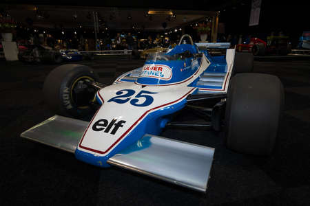 formula one car: MAASTRICHT, NETHERLANDS - JANUARY 08, 2015: Formula One car Ligier JS11, designed by Gerard Ducarouge, 1980. International Exhibition InterClassics & Topmobiel 2015