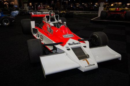 formula one car: MAASTRICHT, NETHERLANDS - JANUARY 08, 2015: Formula One car McLaren M26, designed by Gordon Coppuck, 1977. International Exhibition InterClassics & Topmobiel 2015 Editorial