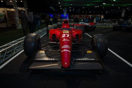 formula one car: MAASTRICHT, NETHERLANDS - JANUARY 08, 2015: Formula One car Ferrari F92A, designed by Jean-Claude Migeot, 1992. International Exhibition InterClassics & Topmobiel 2015