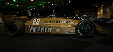 southgate: MAASTRICHT, NETHERLANDS - JANUARY 08, 2015: Formula One car Arrows A3, designed by Tony Southgate, 1980. International Exhibition InterClassics & Topmobiel 2015