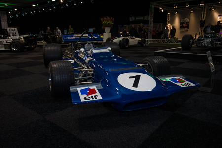 formula one car: MAASTRICHT, NETHERLANDS - JANUARY 08, 2015: Formula One car March 701, designed by Robin Herd, 1970. International Exhibition InterClassics & Topmobiel 2015 Editorial