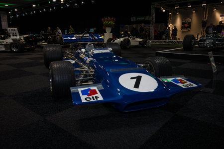 formula one car: MAASTRICHT, NETHERLANDS - JANUARY 08, 2015: Formula One car March 701, designed by Robin Herd, 1970. International Exhibition InterClassics & Topmobiel 2015 Editorial