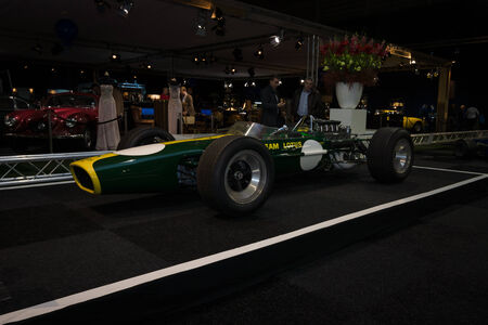 formula one car: MAASTRICHT, NETHERLANDS - JANUARY 08, 2015: Formula One car Lotus 49, designed by Colin Chapman and Maurice Philippe, 1967. International Exhibition InterClassics & Topmobiel 2015