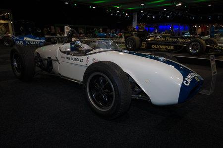 formula one car: MAASTRICHT, NETHERLANDS - JANUARY 08, 2015: Formula One car Lotus 18, designed by Colin Chapman, 1959 - 1960. International Exhibition InterClassics & Topmobiel 2015