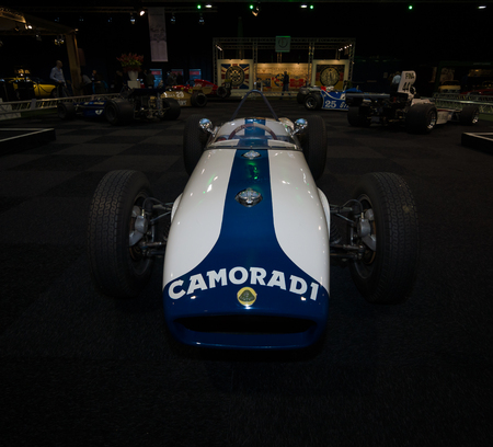 chapman: MAASTRICHT, NETHERLANDS - JANUARY 08, 2015: Formula One car Lotus 18, designed by Colin Chapman, 1959 - 1960. International Exhibition InterClassics & Topmobiel 2015