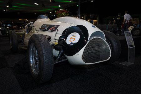mk: MAASTRICHT, NETHERLANDS - JANUARY 08, 2015: The Formula One racing car Cooper T23 (Cooper-Bristol Mk. II), 1953. International Exhibition InterClassics & Topmobiel 2015