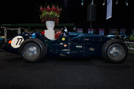 formula one: MAASTRICHT, NETHERLANDS - JANUARY 08, 2015: Formula One racing car Connaught Type A, 1952. International Exhibition InterClassics & Topmobiel 2015