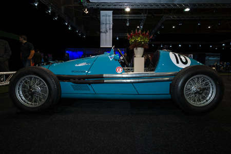 formula one racing: MAASTRICHT, NETHERLANDS - JANUARY 08, 2015: Formula One racing car Gordini Type 16, 1952. International Exhibition InterClassics & Topmobiel 2015 Editorial