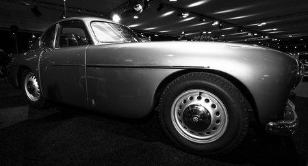 MAASTRICHT, NETHERLANDS - JANUARY 08, 2015: British luxury car Bristol 404 Coupe. Black and white. International Exhibition InterClassics & Topmobiel 2015 Editorial