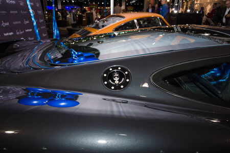 MAASTRICHT, NETHERLANDS - JANUARY 08, 2015: Fragment of a supercar Jaguar XJ220. International Exhibition InterClassics & Topmobiel 2015