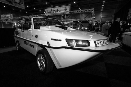 mariner: MAASTRICHT, NETHERLANDS - JANUARY 08, 2015: Amphibious car Dutton Mariner, 1990. Black and white. International Exhibition InterClassics & Topmobiel 2015 Editorial