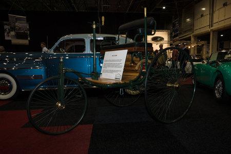 motorcar: MAASTRICHT, NETHERLANDS - JANUARY 08, 2015: The first car Benz Patent-Motorwagen (motorcar), built in 1886. International Exhibition InterClassics & Topmobiel 2015